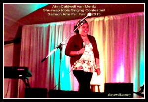 Ahn Caldwell van Mentz Singing photo Shuswap idols Contestant Salmon Arm BC Canada