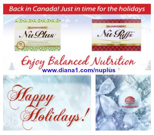 Sunrider Christmas Diana Walker NuPlus in Canada  diana1.com/nuplus