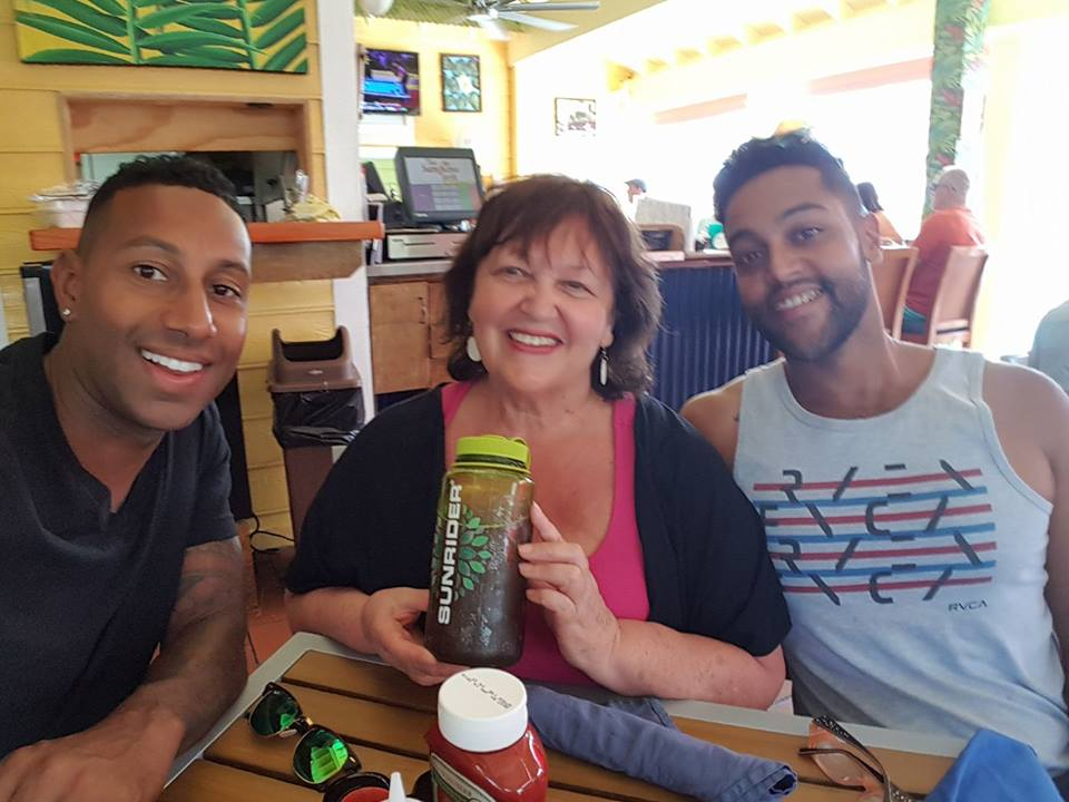 Diana Walker Grand Cayman Feb 2017 with Sons Jesse and Gabe