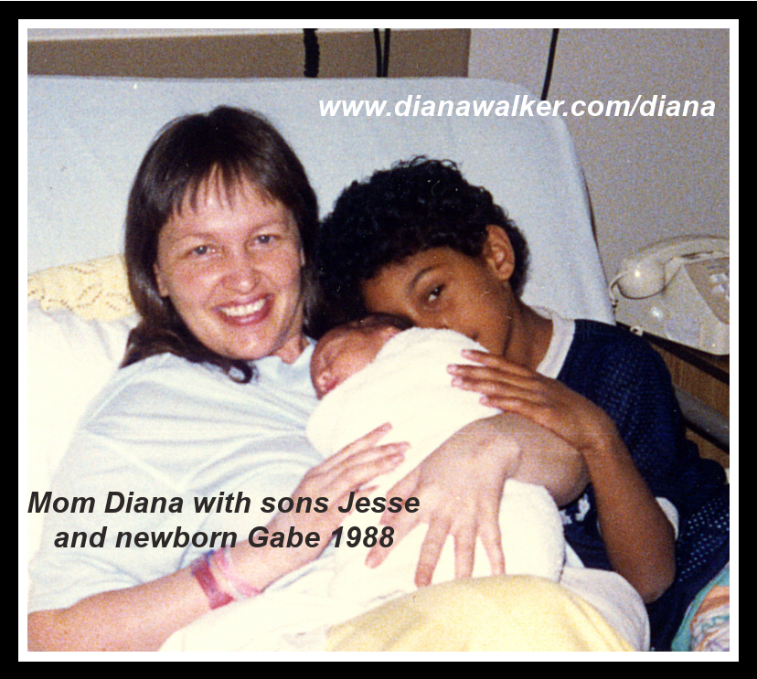Diana Walker with sons Jesse and newborn Gabe 1988
